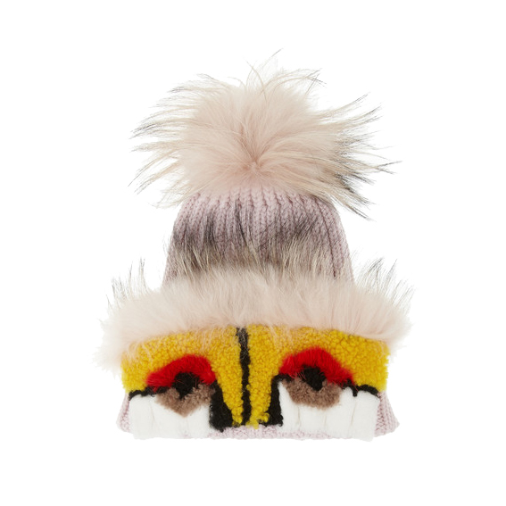 Fendi-monster-fox-mink,sharling-and-cashmere-hat-net-a-porter.com