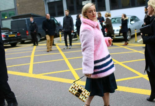 kate foley in shrimps coat and fendi bag