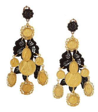 V&A gold plated resin and macrame lace clip earrings