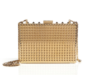 Valentino Metal minaudiere clutch in platino