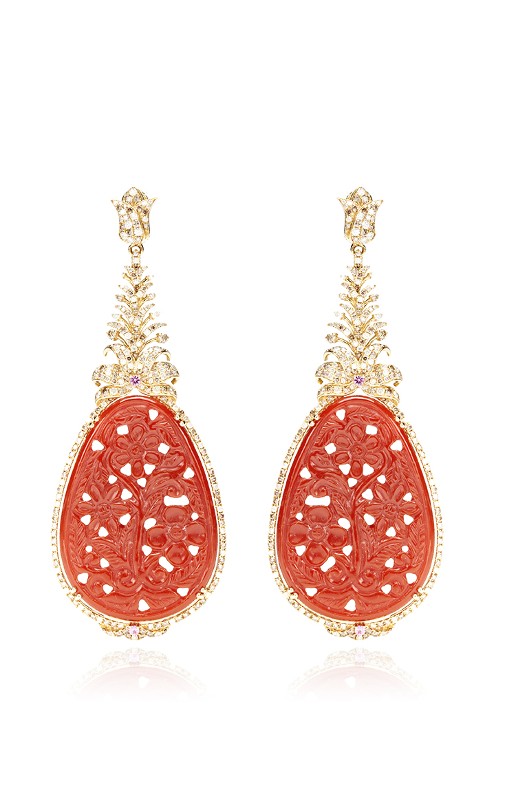 BOCHIC Carved Ruby And Diamond Earrings $21,900