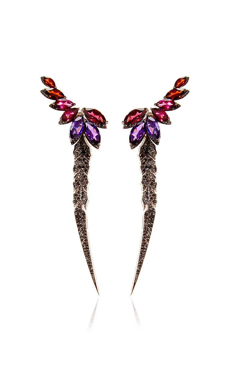 STEPHEN WEBSTER British Couture Collection Earrings with Detachable Black Diamond Feather $17,000