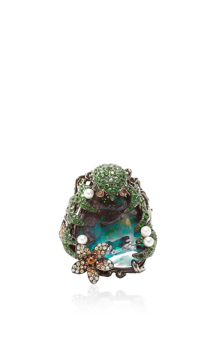 WENDY YUE One of a Kind Lily Pad And Scarab Ring $11,300