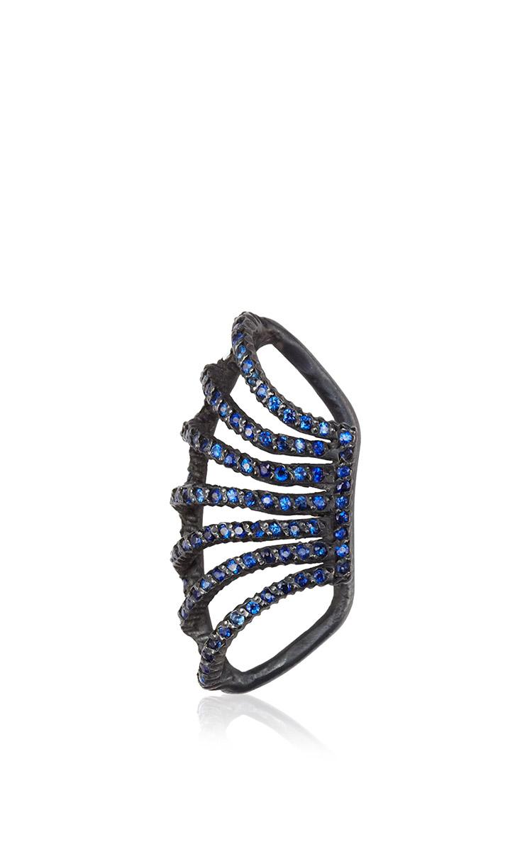 YOSSI HARARI Lilah Cage Blue Sapphire Ear Cuff In Oxidized Gilver $1,480