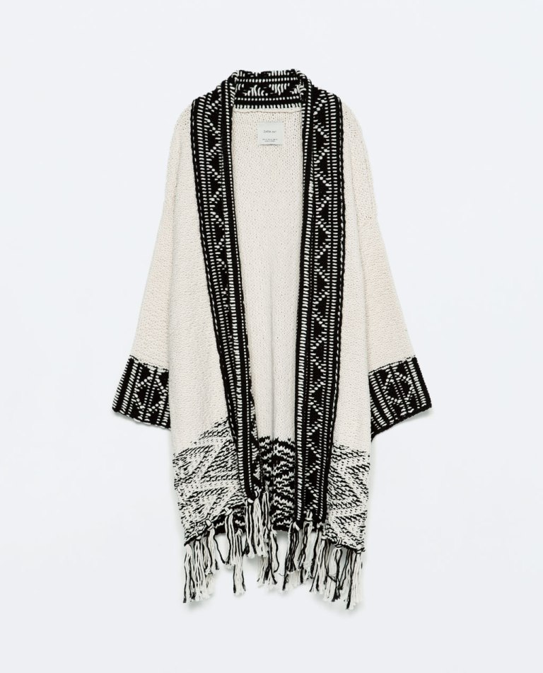 jacquard jacket with fringed hem