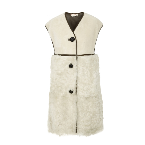 Oversized-leather-trimmed-shearling-gilet
